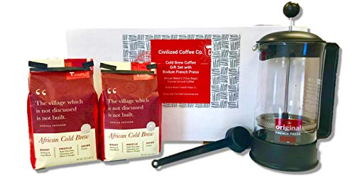 Civilized Coffee Cold Brew Coffee Gift Box, French Coffee Press & Ground Cold Brew Coffee Beans ( 2 - 12oz bags)