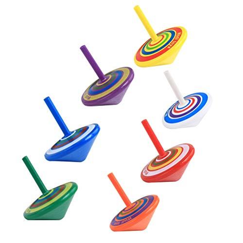 Toyvian 15 stücke Gemalte hölzerne Kreisel Tischklammer Oben Spinner Handwerk Geschenk Spielzeug für Kinder