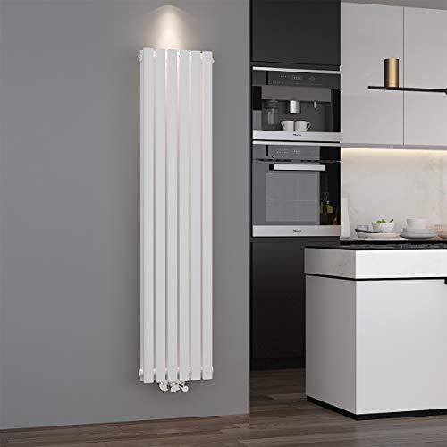 ELEGANT Design Paneelheizkörper Röhren 1600 x 354 mm Weiß Doppellagig Badheizkörper Mittelanschluss Vertikal Röhren Heizkörper
