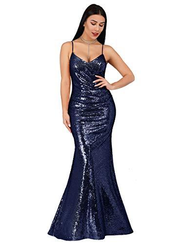 Ever-Pretty Abito da Cerimonia Donna Sirena Paillettes Scollo a V Petto Basso Senza Maniche Stile Impero Lungo Blu Navy 36