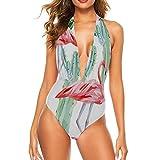 Traje de baño para mujer, cuello halter, rosa, flamenco, cactus rosas, papel pintado floral, sexy, sin espalda, monokini, bañador acolchado XXL Rosa Rosa 13 XL