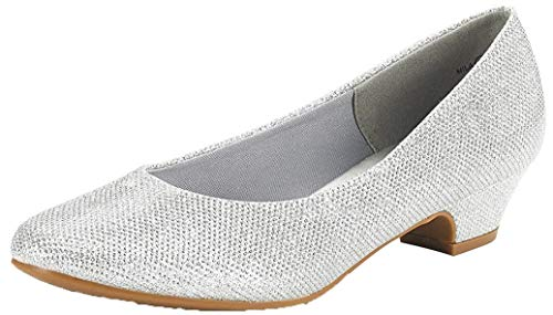 DREAM PAIRS Women s Mila Silver Glitter Low Chunky Heel Pump Shoes Size 9 M US