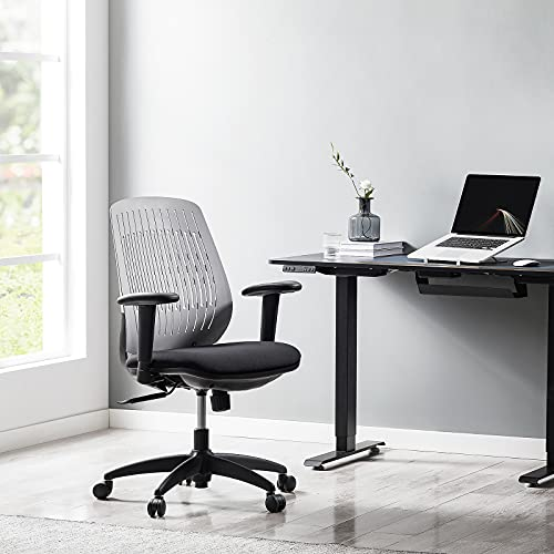TACRONEY Office Chair Ergonomic, Desk Chair Lower Back Height Adjustable, Home Office Task Chair with Adjustable Arms, Tilt Function, Injection Backrest with Fabric Cover, Swivel Chairs with PA Wheel