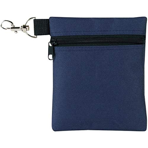 BuyAgain Golf Tee Pouch, 5.62 X 6.87 Inch Professional Zipper Golf Tee Ball Pouch Bag with Metal Lobster Claw Clip.