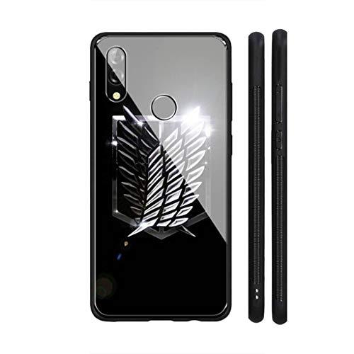IIFENGLE Funda de Cristal Compatible con Huawei P Smart 2019, Funda Huawei P Smart 2019 con Tapa Trasera de Cristal Templado Dureza, Marco de TPU Flexible, LHK-8 Attack On Titan Anime