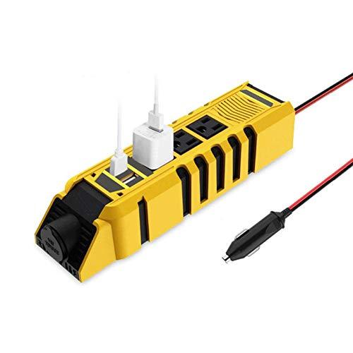 YAMAXUN Inversor De Corriente: 110 V 60 Hz, Convertidor De CA con Enchufes USB Dobles De 2.4 A Y 3 Enchufes De CA, Material ABS Ignífugo Cargador De Coche para Teléfonos, Ventiladores Eléctricos