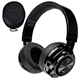 PowerLocus P3 Wireless Bluetooth Headphones Over-Ear, [40h Playtime, Bluetooth 5.0] Foldable Stereo Wireless/Wired Headphone Over Ear with Mic Deep Bass Headset for iOS/Android/Laptop/PC/TV - Black