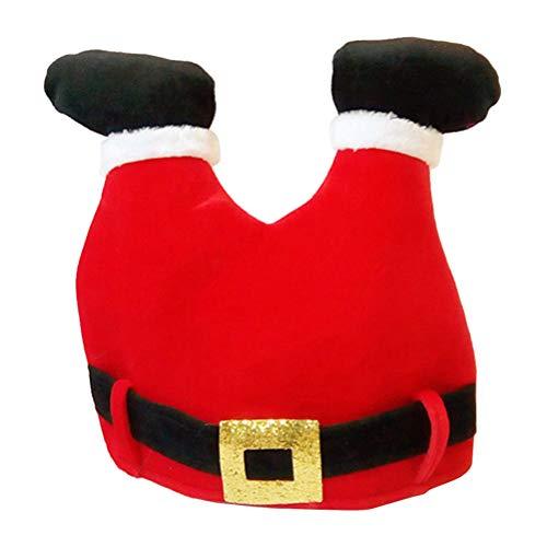 BESTOYARD Gorro de Santa en Forma de Pantalón Gorro de Navidad Gorro Papa Noel para Adultos y Niños Rojo
