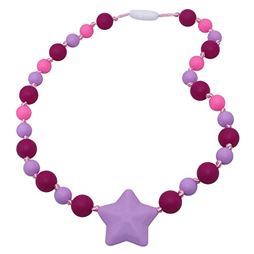 Sensory Chew Necklace for Girls, Kids, Silicone Baby Teething Necklace forAutism, Teething, ADHD, Biting, Oral Motor Chewing Beads - Purple Starlight Chewy Jewelry Toys