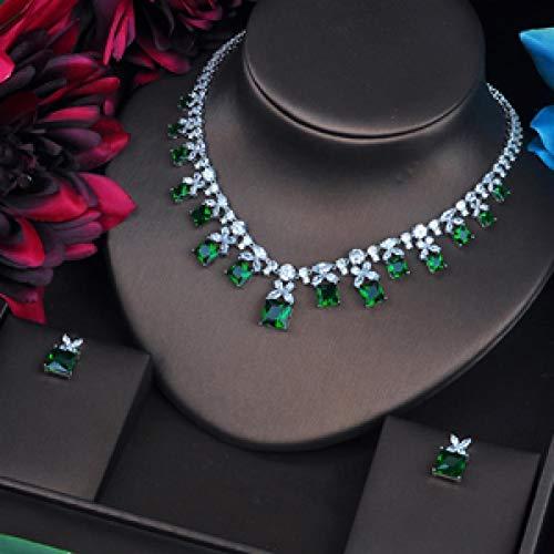 Jskdzfy Juego de joyas de circonita cúbica verde brillante para mujer, juego de collar y pendientes, accesorios para vestidos de boda, regalos de fiesta (color oro blanco)