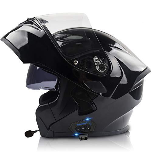 STRTG Casco De Moto Modular Bluetooth Integrado con Un Micrófono Incorporado Anti Niebla Visera Doble ECE/Dot Homologado Auriculares con Dos Bocinas, Contestador Automático Manos Libres H,XXL