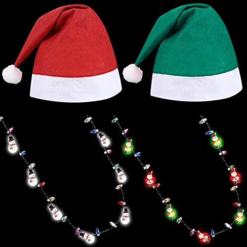 4 Pieces Christmas Hat and Light up LED Necklace Set Included 4 Pieces Red Green Christmas Hats 4 Pieces Christmas Bulb Necklaces Snow Santa Flashing LED Bulb Necklaces for Party Favor