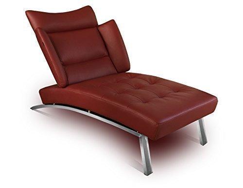 NEUERRAUM Bauhaus Daybed Chaiselongue Lounge-Sessel Relax Liege Couch Sofa Echtleder, Fuß Edelstahl poliert. Abbildung in Leder Bordeaux (Weinrot).