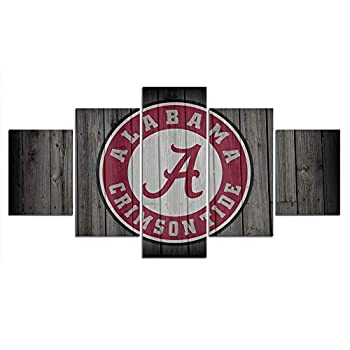 Alabama Crimson Tide Football Wall Decor Art Paintings 5 Piece Canvas Picture Artwork Living Room Prints Poster Decoration Wooden Framed Ready to Hang 60  Wx32  H