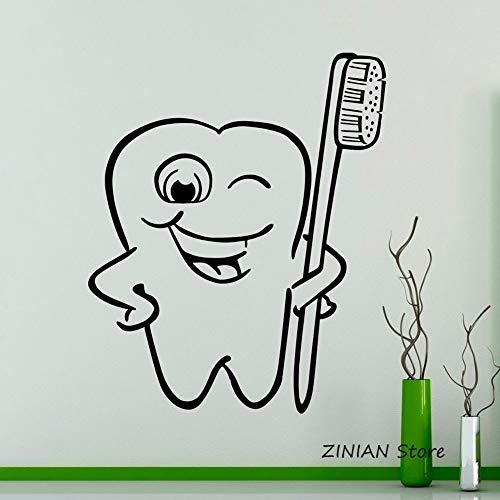 Zahn- und Zahnbürstenwandaufkleber Vinylaufkleber Wanddekoration Kinderzimmer wasserdichte Badezimmeraufkleber 36X33cm