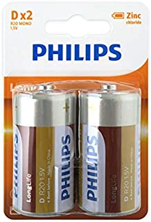 Philips 1.5 Volt Longlife Zinc-Carbon D Battery 2-Pieces Pack, (18192)