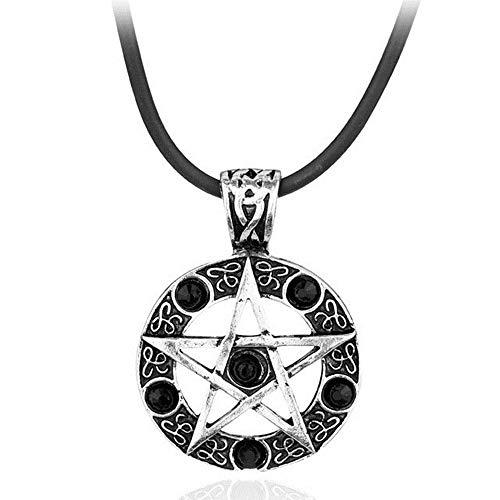 Übernatürliche Halskette Dean Winchester Stern Strass Seil Kette Anhänger Pentagramm Colares Femininos Kragen Statement Halskette