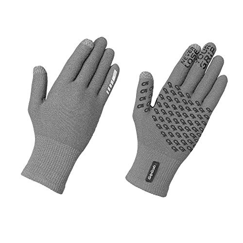 GripGrab Primavera Merino-Wool 2nd Edition Touchscreen Knitted Cycling Gloves Full-Finger Anti-Slip Bicycle Liners, Guanti da Ciclismo Invernali Unisex-Adult, Grigio, M/L