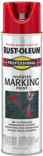 Rust-Oleum 2564838 Professional Inverted Marking Spray Paint, 15 oz, Safety Red