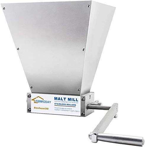 CNCEST 4L 2 Roller Stainless Steel Malt Crusher,Heavy Duty Malt Mill Homebrew Grain Crusher Adjustable Barley Grinder Drill Available Manual Malt Mill(No Wooden Base)