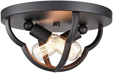 Industrial Matte Black Flush Mount Ceiling Light Metal Cage Dome Shape Hallway Ceiling Lighting product image