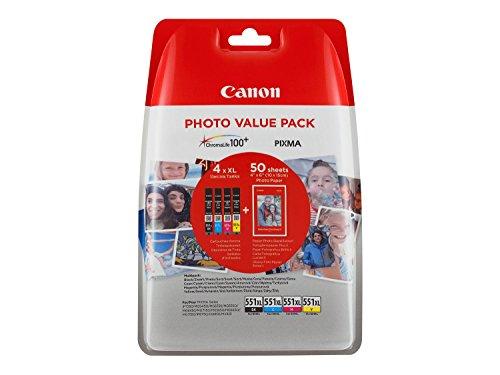 Canon Tintenpatrone CLI-551 XL 4 x 11 ml + Fotopapier - Multipack - für PIXMA Drucker ORIGINAL