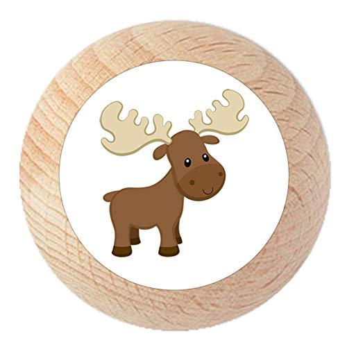 """Schubladengriff""""Elch"""" natur klar lackiert Holz Kinder Kinderzimmer 1 Stück Waldtiere Traum Kind"""