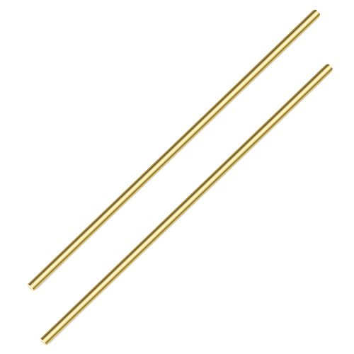 Sutemribor Brass Solid Round Rod Lathe Bar Stock, 1/4 Inch in Diameter 14 Inches in Length (2 PCS)