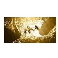 """キャンバスに印刷抽象ゴールドラブキスウォールアートキャンバス絵画ポスターとプリントモダンウォールアート画像リビングルームの家の装飾70x140cm / 27.5""""x55.1""""フレームなし"""