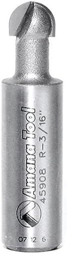 "lowest Amana Tool - 45908 Carbide high quality Tipped Core Box 3/16 Radius x 3/8 Dia x 1/4 x popular 1/2"" Shank sale"