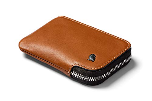Bellroy Card Pocket (Small Leather Zipper Card Holder Wallet, Holds 4-15 Cards, Contains Internal Coin Pouch, Folded Note Storage) - Caramel