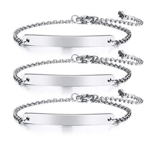 VNOX Personalisierte Edelstahl Freundschaft Familie Bar Armband Link ID Kette für Frauen Mädchen Einstellbare Länge, Kostenlose Gravur 3 Pcs