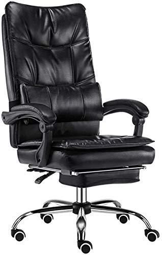 Sessel GSN Stuhl Doppel Eindickung PU-Leder-Polsterung Bürostuhl 155 ° Liegende mit Fußrasten bewegen Lendenkissen Lagergewicht 150kg (Color : Black)