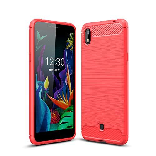 Cruzerlite LG K20 hülle, Carbon Fiber Texture Design Back Cover Anti-Scratch Shock Absorption Hülle Schutzhülle für LG K20 (Red)