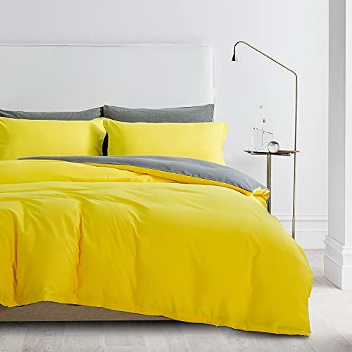 Ropa de cama de 135 x 200 cm, color amarillo y gris, microfibra, juego de cama de 2 piezas, funda nórdica de 135 x 200 cm + 80 x 80 cm, funda de edredón moderna, juego de ropa de cama