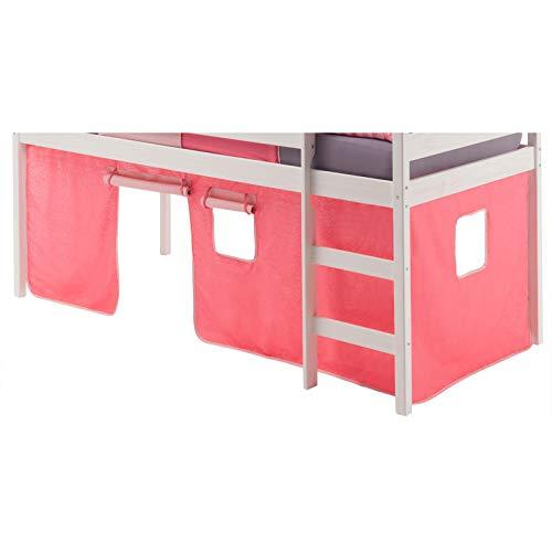 IDIMEX Vorhang Gardine Bettvorhang Classic zu Hochbett Rutschbett Spielbett in pink/rosa