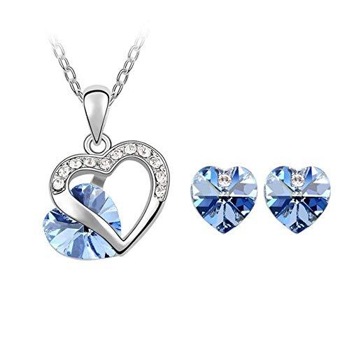 MePrecious - Juego de joyas de plata con corazón azul
