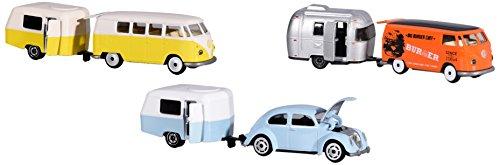 Dickie Majorette 212052014 Vintage Trailer Assortment, Miniaturfahrzeuge, Set mit Fahrzeug und Anhänger, Die-Cast, 3 versch. Modelle, 7,5cm