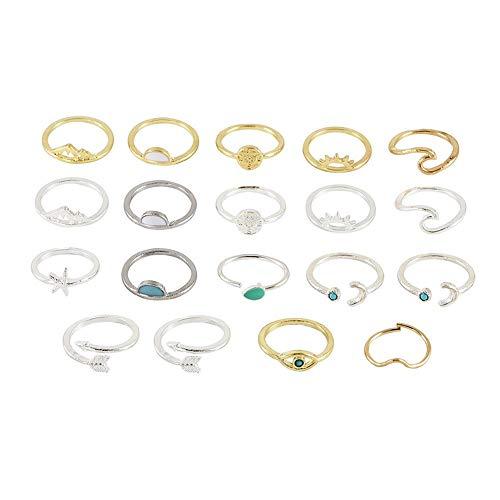 MTRSUE 19 unids anillos para el dedo del pie de la playa de verano abierto ajustable anillo del dedo de la flecha hawaiana Kont dedo pie joyería regalo