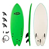 GYMAX Surfboard, 5'5'' Soft-Top Surfing Board with Removable Fins & Adjustable Wrist Rope, Lightweight Body Board for Adults, Kids, Teenagers (Green)