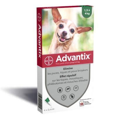 Advantix - Pipette antipulci per cani molto piccoli ( 4 kg), 4 pipette