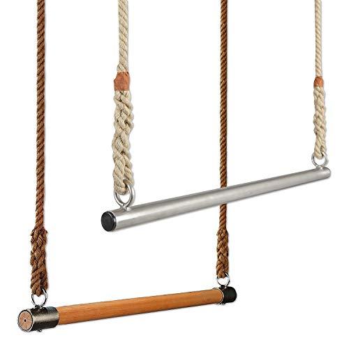 Sport-Thieme Trapezstange aus Holz oder Edelstahl | Trapez-Schaukel für Kinder u. Erwachsene zum einhängen | Verstellbare Seillänge: 3m, Breite: 75 cm, Ø Sprosse: 35 mm | Eigene Fertigung