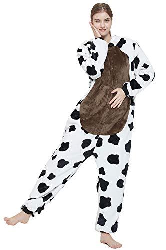 CozofLuv Pijama de animal, disfraz para cosplay, disfraz de unicornio, reno, para adultos, traje (vaca en blanco y negro, XL)