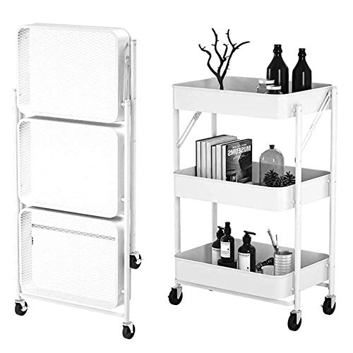 Carrito CXIA Almacenamiento Plegable 3 Niveles, Organizador Multiusos con Ruedas, para Baño/Cocina/Oficina/Biblioteca/Dormitorio-45x29.5x77cm(Color:Blanco)
