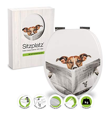 WC-Sitz Dekor Lesestoff | Toilettensitz | WC-Brille aus Holz | Soft-Close-Absenkautomatik | Toilettendeckel mit Metall-Scharnier | Fast-Fix-Schnellbefestigung Klodeckel