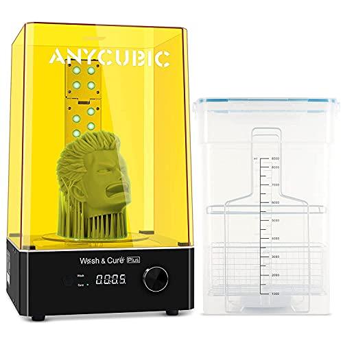 ANYCUBIC Wash and Cure Plus, la más nueva y grande 2 en 1 Wash Cure Machine Plus para modelos de impresora 3D Mono X LCD SLA DLP con luz de curado en forma de L y cubo de lavado cerrado