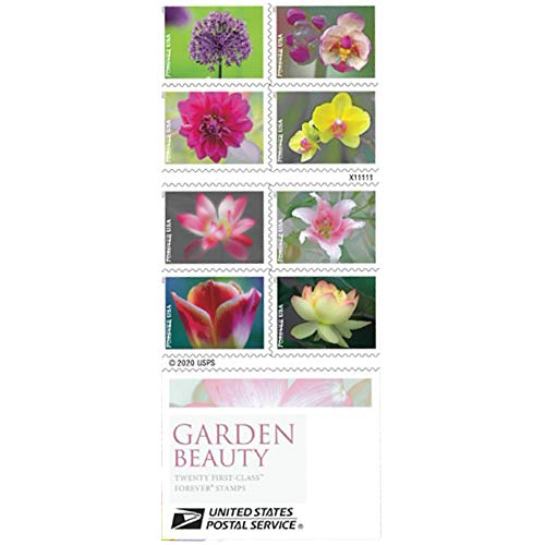 Garden Beauty Forever Postage Stamps Book of 20 US Postal First Class Wedding Celebration Anniversary Flower Party (20 Stamps)