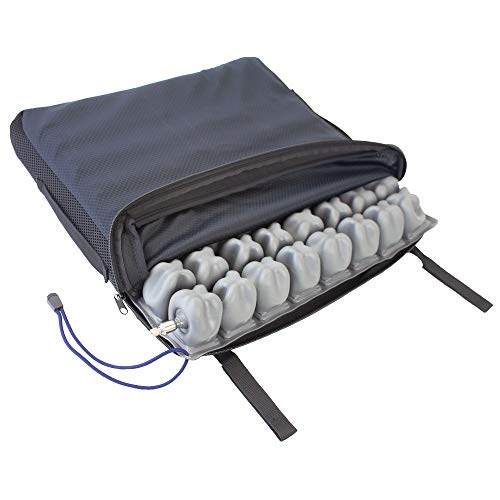 Mobiclinic Q-AIR, Cojín antiescaras para silla de ruedas, Prevención de llagas en la piel, Se adapta al cuerpo, Facilita la circulación sanguínea, 1 válvula, 45x40x6 cm