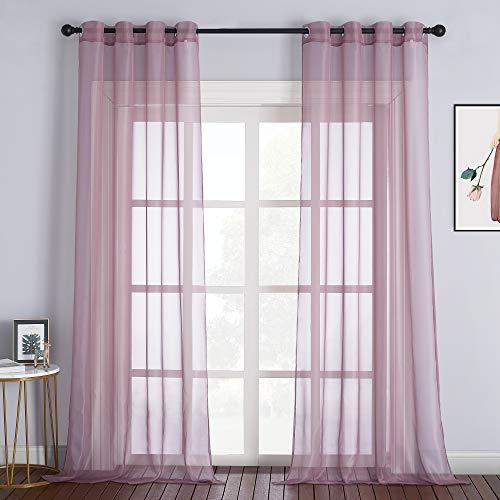 NICETOWN Sheer Curtains 96' Long for Living Room Windows, Grommet Voile Sheer Textured Window Drapes for Sliding Glass Door/Villa/Bedroom, Purple, 54' Wide, Set of 2