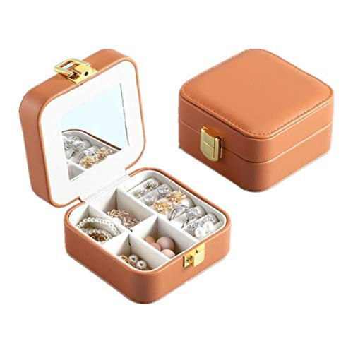 Jewelry Storage Box PU Leather Portable for Drop Earrings, Necklaces, with Large Mirror and Storage Drawers Holder Festival Gift